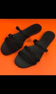 正品 全新 Hermes 黑色豬鼻拖鞋