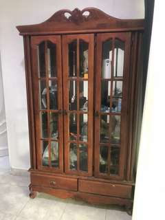 [Used] Solid Wood Display cabinet (almari)