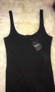 Black square neck dress