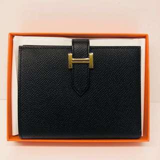 正品 全新 Hermes Bearn 黑金短銀包 Short Wallet