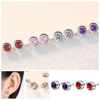 BN Unisex Round Earrings Zircon Ear Stud [MJN102]