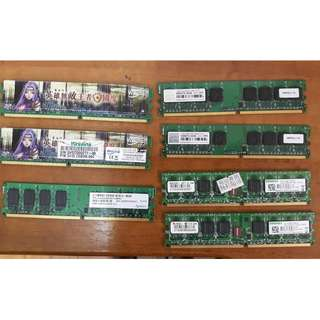 🚚 桌上型電腦DDR2 800 2G和1G 記憶體7條一起售