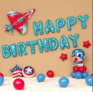 <In-stock>Happy Birthday Party Decoration set- Baby Captain America/newborn (pre-made balloon stand)