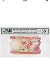1967 Singapore $10 Orchid Lim Kim San