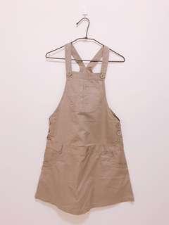 🚚 極簡,綠灰色吊帶裙,可調長度,真口袋