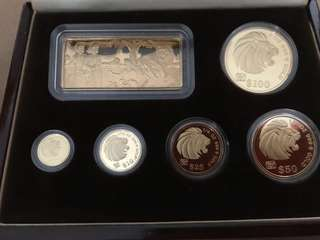 Singapore 1992 lion gold proof Coin set monkey