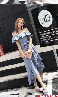 Ruffled off shoulder dress IN BLUE AVAIL