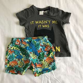 H&M shirt and Mothercare Shorts 4-6mos
