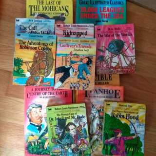 classics robinson Crusoe, robin Hood, Gulliver's travels, Jules Verne Journey to The Centre Of The Earth. Must Take All 12