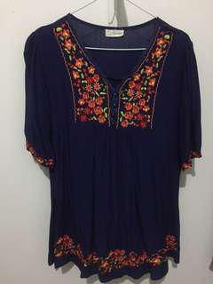Navy Embroidery Blouse
