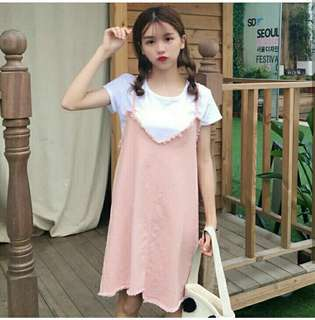 2 in 1 peach dress imporr