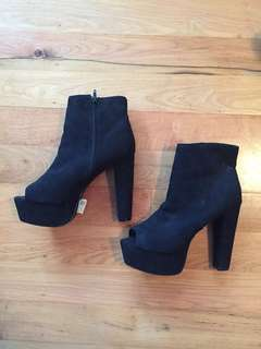 Peep toe high heeled boots size 9