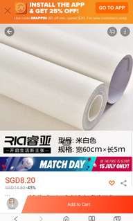 Waterproof self adhesive wallpaper (cream white)