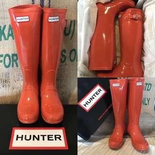 🚚 Hunter boots original gloss w23616 亮橘色