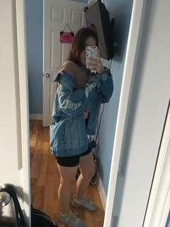 Oversized distressed denim jean jacket