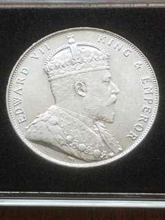 Straits Settlement 1908 Silver Dollar