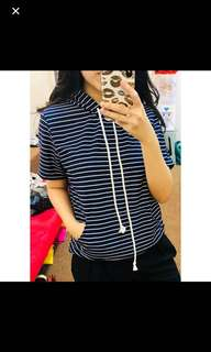 STRIPE HOODIE TOP ( Only White)