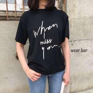 草寫miss u 字母T恤
