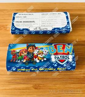 DIY Party- Customised Paw Patrol Kit Kat Bar wrappper