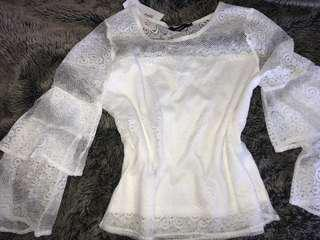 Lace top with layered sleeves - brand new size 10