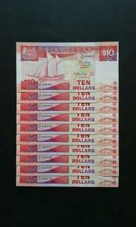 1987-1999 Singapore $10 Ship series Currency Banknote