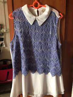Blue/ purple Lace collar Top