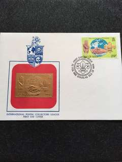 Isle of Man 1982 Scouting Stamp + Gold Foil Replica FDC