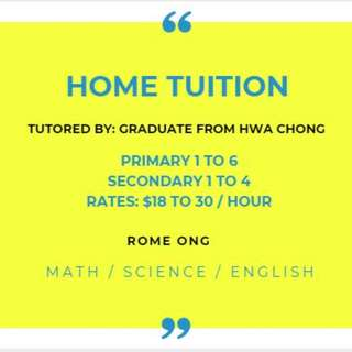 Home Tuition - Math / Science / English / Chinese