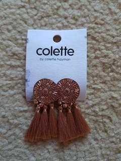Colette rose gold coin tassel earrings