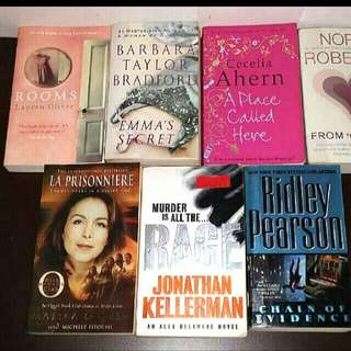 7 Bestsellers Authors:Jonathan Kellerman Nora Roberts Barbara Taylor Cecilia Ahern Jack Higgins  Rage  London A Place Called Here La Prisonniere. Malikaoufkir  Love Thriller Rooms Lauren Oliver