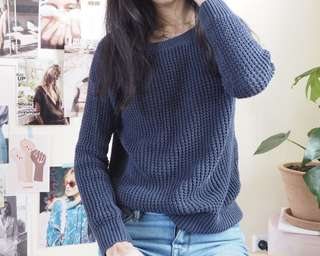 Dotti navy knit top