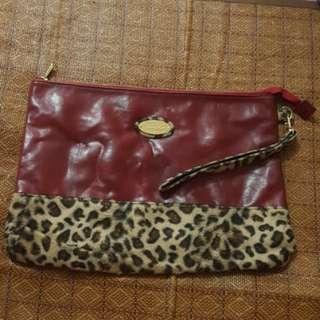 代放Heather 紅色牛皮A4size豹紋手提包 日本購