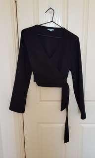 Kookai black wrap top