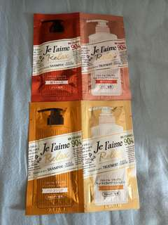 Je l'aime shampoo and conditioner samples