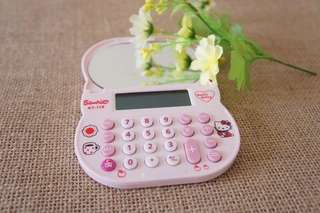 PASOCON Mini Cute Pink Hello Kitty Calculator Kawaii LCD Electronics Mirror Calculator