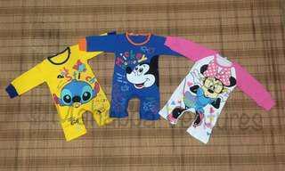 100% cotton, Long sleeve romper/pyjamas (baju tidur bayi)