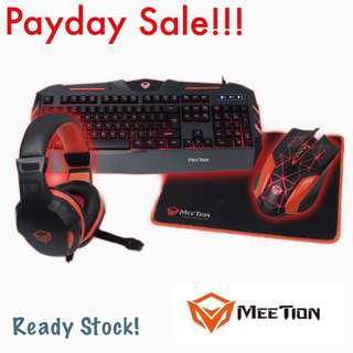 4 in 1 computer gaming combo, gaming keyboard headset gaming mouse pad