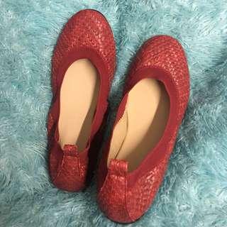 Red Basket Weave Ballet Flats