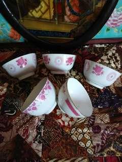 5  pcs chinese dessert bowls