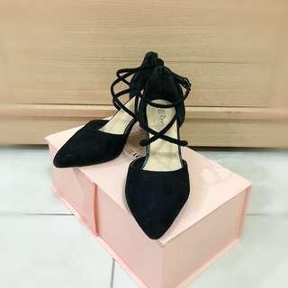 🚚 韓系交叉 高跟鞋 粗跟 黑
