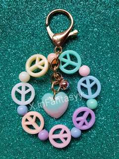 (14) Pastel Heart with Peace Beads Keychain/Bagcharm [SOLD]