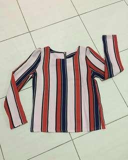 🆕Top salur wanita atasan stripe baju cewek