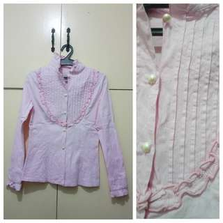 WA826 Pink Long Sleeve Blouse Small - see pics for Measurements