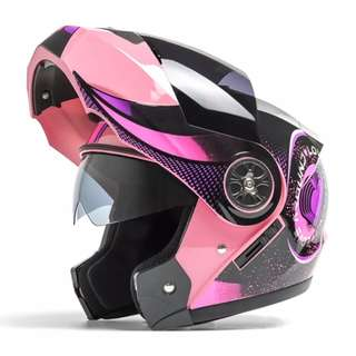 Pink with Black and Purple Designs Full Face Flip Up Motorcycle Bike Modular Helmet with Double Inner Lens