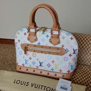 LOUIS VUITTON white mono multicolore alma PM bag