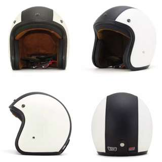 White Black Leather Motorcycle Helmet Open Face Three Button Snap Retro Vintage Vespa Scooter Cafe Racer Motorbike Leather Gloss Old School Harley Davidson