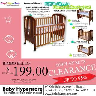 [ DISPLAY SETS CLEARANCE up to 95% ] ★ BIMBO BELLO Baby cot ★ Cherrywood Baby Cot ★4 in 1 baby cot