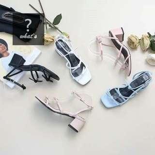 🚚 Korea 👡 正韓羅馬糖果色蝴蝶結粗跟涼鞋