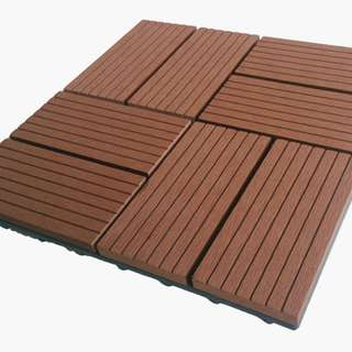 Garden Tiles - WPC outdoor interlocking tiles - coffee colour - 300x300x22mm