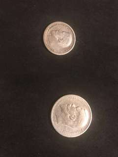 2 Coins: 1898 1 Russian Ruble and 1896 50 kopeks